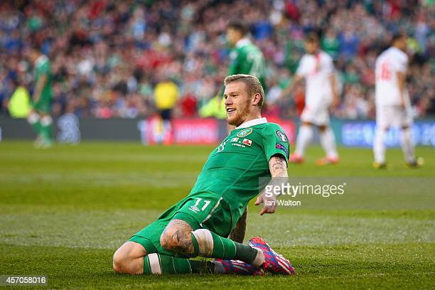 James McClean of Republic of Ireland celebrates after scoring a goal during the EURO 2016 Qualifier match between Republic of Ireland and Gibraltar...