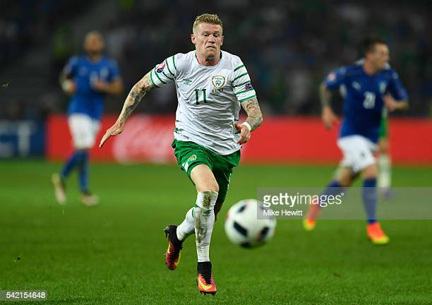 James McClean of Republic of Ireland in action during the UEFA EURO 2016 Group E match between Italy and Republic of Ireland at Stade PierreMauroy on...