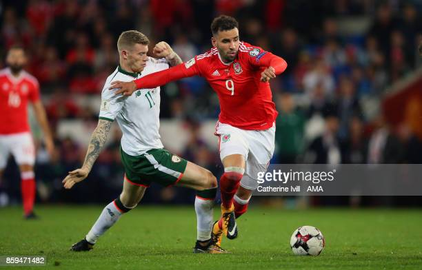 James McClean of Republic of Ireland tackles Hal RobsonKanu of Wales during the FIFA 2018 World Cup Qualifier between Wales and Republic of Ireland...