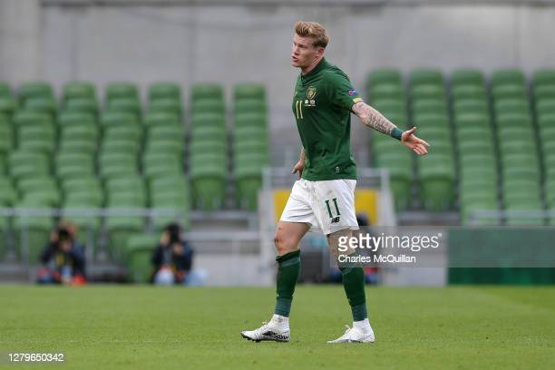 James McClean of Republic of Ireland walks off the pitch after being shown the red card during the UEFA Nations League group stage match between...