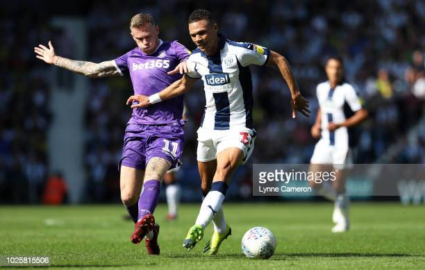 James McClean of Stoke City and Kieran Gibbs of West Bromwich Albion during the Sky Bet Championship match between West Bromwich Albion and Stoke...