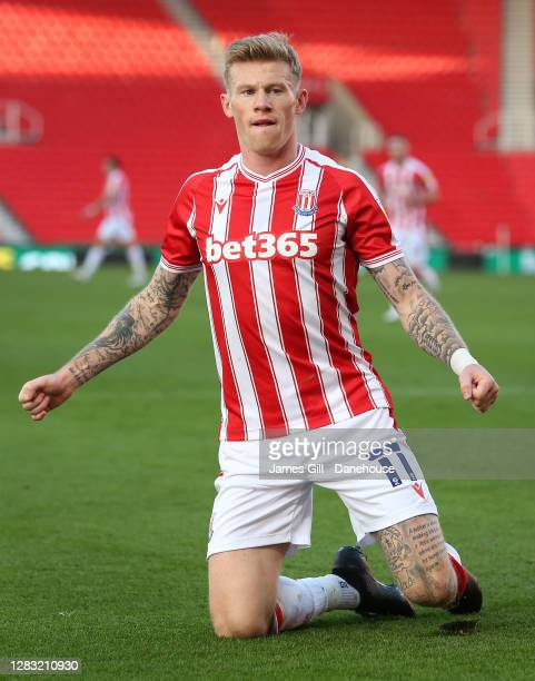 James McClean of Stoke City celebrates after scoring the opening goal during the Sky Bet Championship match between Stoke City and Rotherham United...