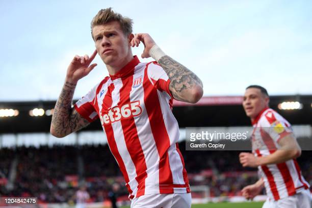 James McClean of Stoke City celebrates scoring the opening goal during the Sky Bet Championship match between Stoke City and Charlton Athletic at...
