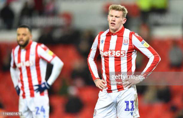 James McClean of Stoke City shows his dejection during the Sky Bet Championship match between Stoke City and Reading at Bet365 Stadium on December...