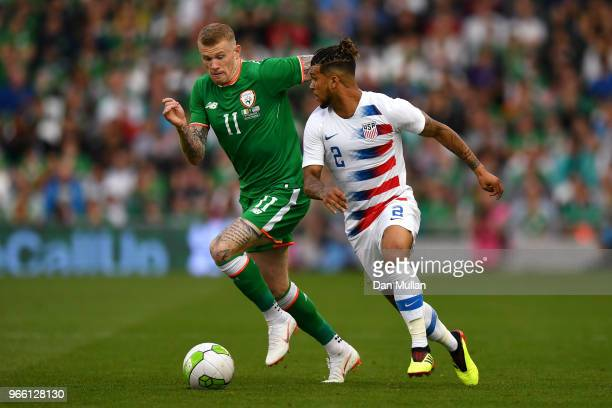 James McClean of the Republic of Ireland and DeAndre Yedlin of The United States compete for the ball during the International Friendly match between...