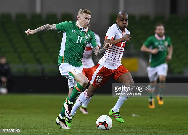 James McClean of the Republic of Ireland and Gelson Fernandes of Switzerland during the international friendly match between the Republic of Ireland...