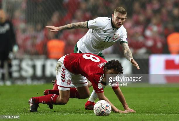 James McClean of the Republic of Ireland and Thomas Delaney of Denmark in action during the FIFA 2018 World Cup Qualifier PlayOff First Leg between...