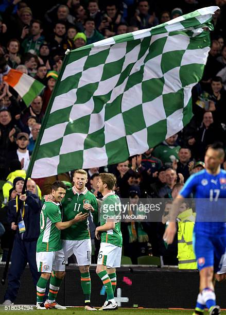 James McClean of the Republic of Ireland celebrates after scoring during the international friendly match between the Republic of Ireland and...