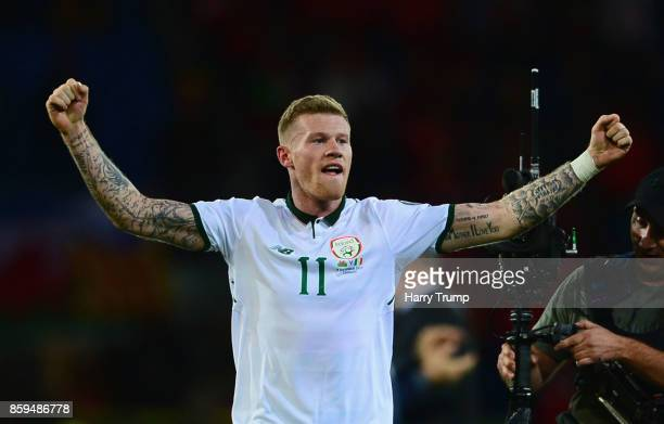 James McClean of the Republic of Ireland celebrates victory after the FIFA 2018 World Cup Group D Qualifier between Wales and Republic of Ireland at...