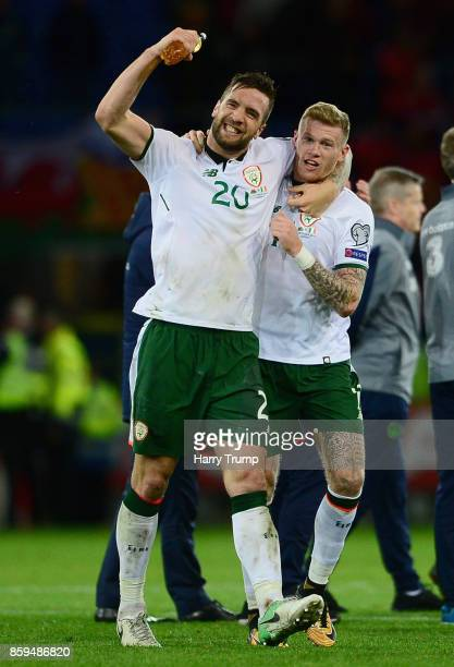 James McClean of the Republic of Ireland celebrates victory with Shane Duffy after the FIFA 2018 World Cup Group D Qualifier between Wales and...