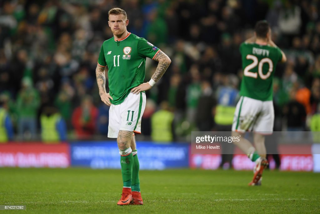 James McClean of the Republic of Ireland is dejected after the FIFA 2018 World Cup Qualifier Play-Off: Second Leg between Republic of Ireland and Denmark at Aviva Stadium on November 14, 2017 in Dublin, Ireland.