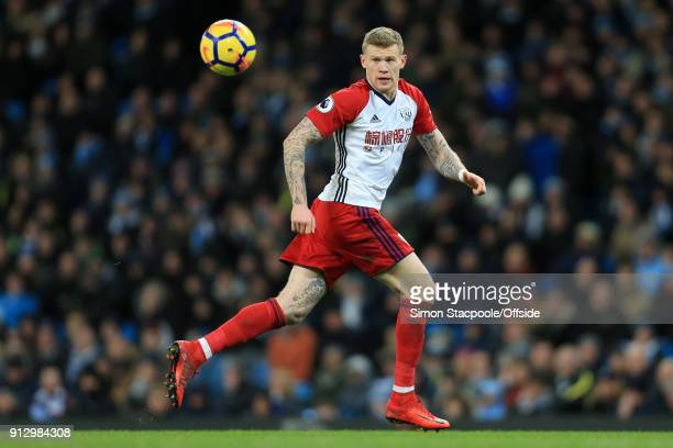 James McClean of West Brom in action during the Premier League match between Manchester City and West Bromwich Albion at the Etihad Stadium on...