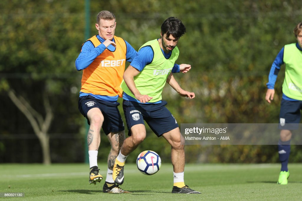 James McClean of West Bromwich Albion and Claudio Yacob of West Bromwich Albion during the West Bromwich Albion training session on October 12, 2017 in West Bromwich, England.