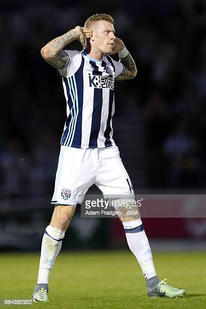 James McClean of West Bromwich Albion celebrates after scoring a goal to make it 11in the EFL Cup fixture between Northampton Town and West Bromwich...