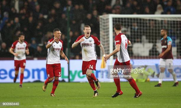 James McClean of West Bromwich Albion celebrates after scoring his sides first goal with his West Bromwich Albion team mates during the Premier...