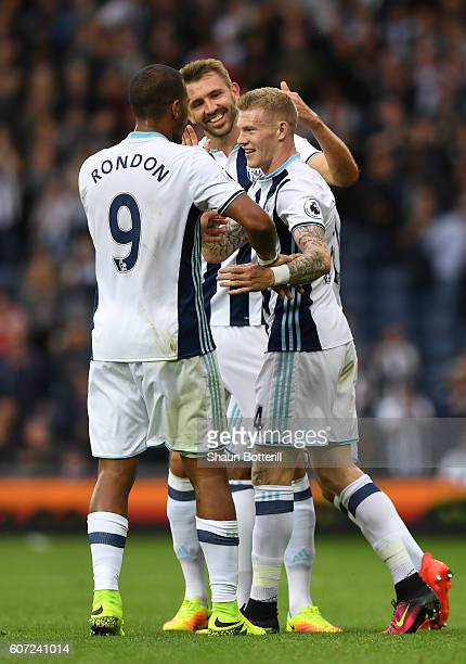 James McClean of West Bromwich Albion celebrates scoring his sides third goal with his team mates during the Premier League match between West...