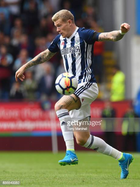 James McClean of West Bromwich Albion during the Premier League match between Burnley and West Bromwich Albion at Turf Moor on August 19 2017 in...