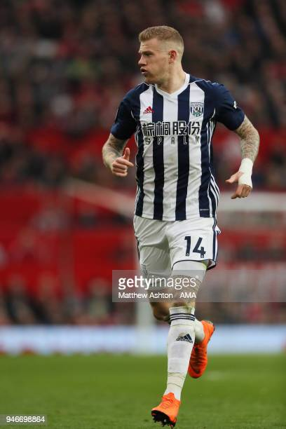 James McClean of West Bromwich Albion during the Premier League match between Manchester United and West Bromwich Albion at Old Trafford on April 15...