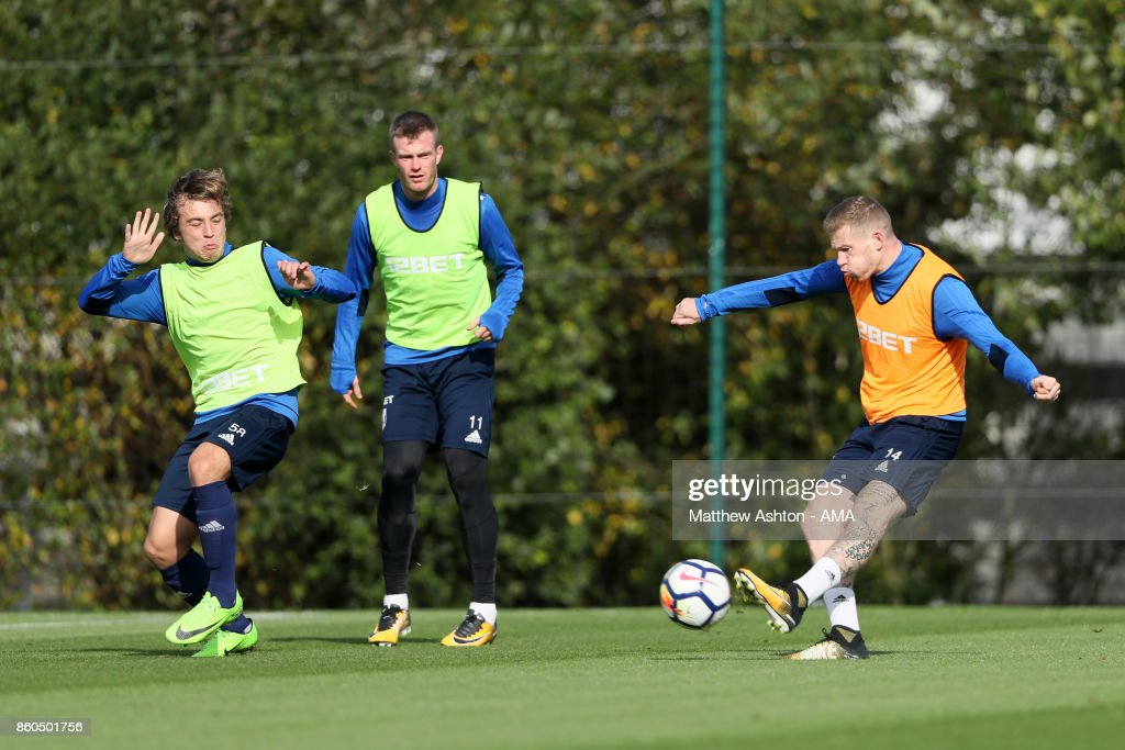 James McClean of West Bromwich Albion during the West Bromwich Albion training session on October 12, 2017 in West Bromwich, England.