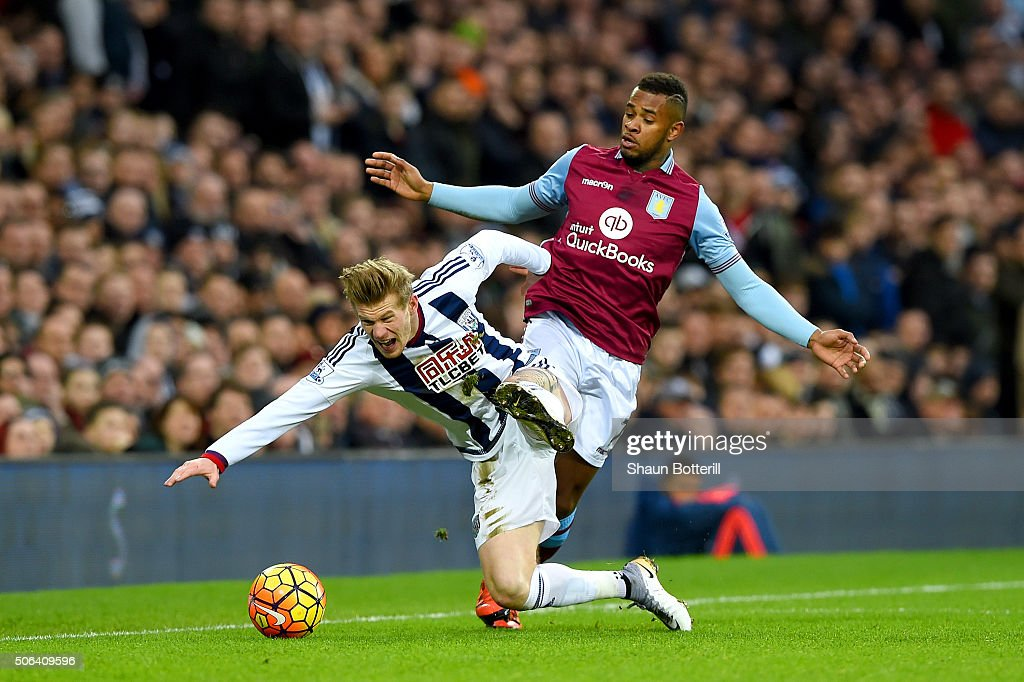 James McClean of West Bromwich Albion is challenged by Leandro Bacuna of Aston Villa during the Barclays Premier League match between West Bromwich Albion and Aston Villa at The Hawthorns on January 23, 2016 in West Bromwich, England.