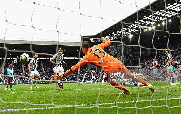 James McClean of West Bromwich Albion scores his sides third goal during the Premier League match between West Bromwich Albion and West Ham United at...