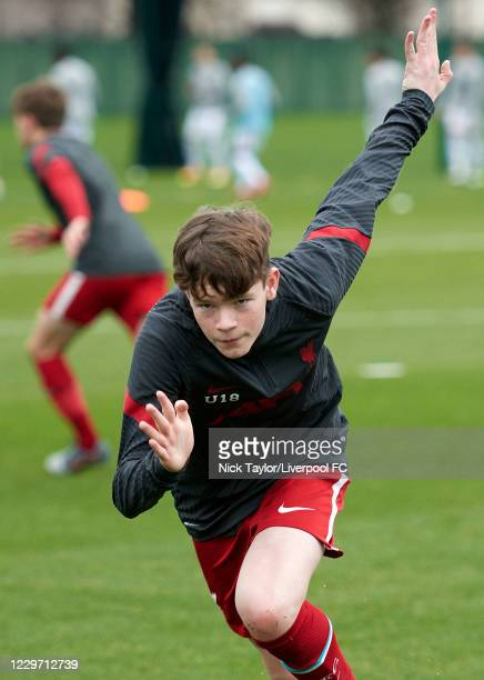 James McConnell of Liverpool during the warm up at Melwood Training Ground on November 21, 2020 in Liverpool, England.
