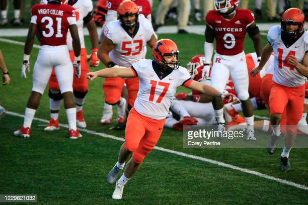 James McCourt of the Illinois Fighting Illini reacts to kicking a game-winning field goal against the Rutgers Scarlet Knights during the fourth...