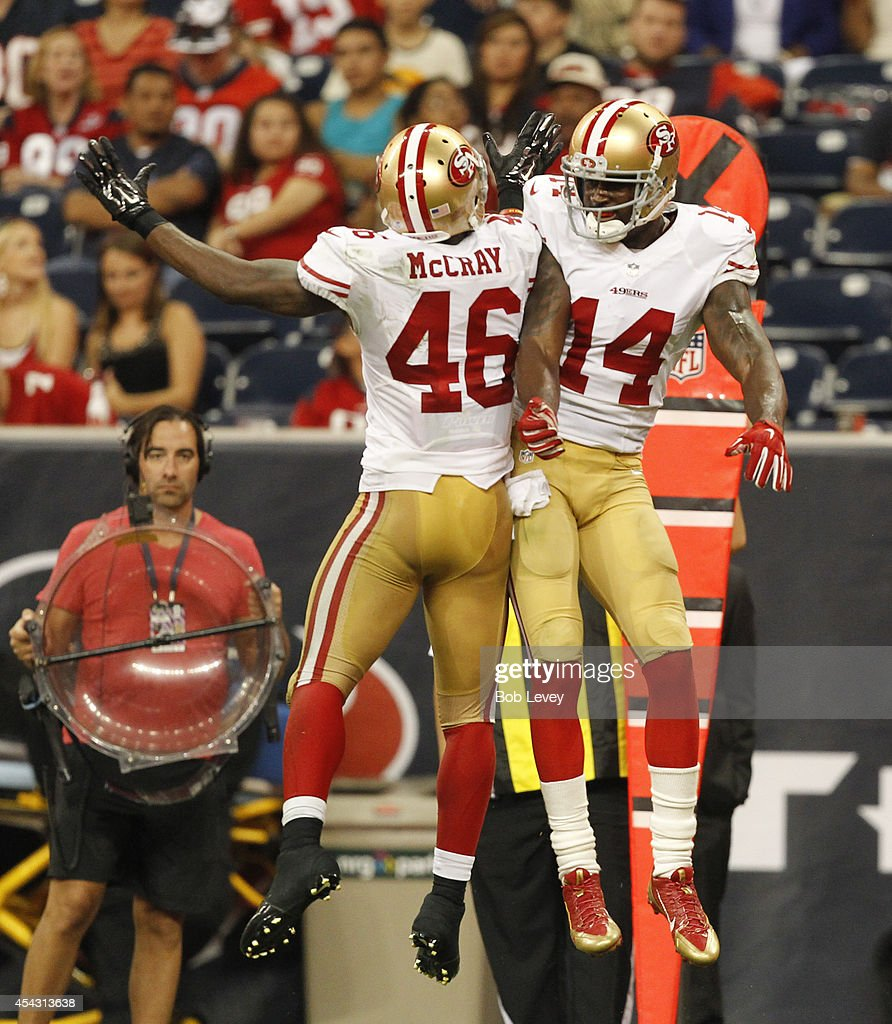 James McCray #46 of the San Francisco 49ers celebrates with Kassim Osgood #14 after special teams blocked a Houston Texans punt for a safety at Reliant Stadium on August 28, 2014 in Houston, Texas.