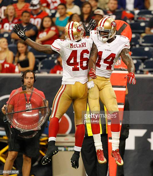 James McCray of the San Francisco 49ers celebrates with Kassim Osgood after special teams blocked a Houston Texans punt for a safety at Reliant...