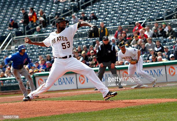 James McDonald of the Pittsburgh Pirates pitches in the first inning against the Chicago Cubs during the game on April 4 2013 at PNC Park in...