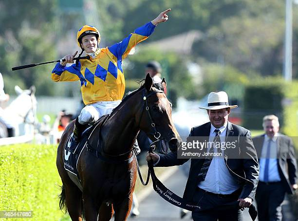 James McDonald returns on Cosmic Endeavour after winning race 7 The Group 1 Canterbury Stakes during Sydney Racing at Royal Randwick Racecourse on...