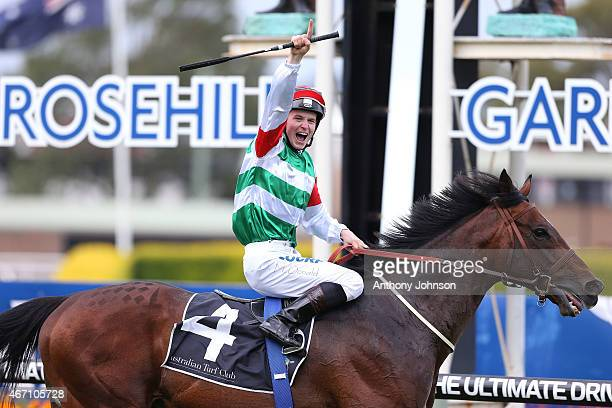James McDonald returns on Real Impact after winning race 8 The George Ryder Stakes during Golden Slipper Day at Rosehill Gardens on March 21 2015 in...