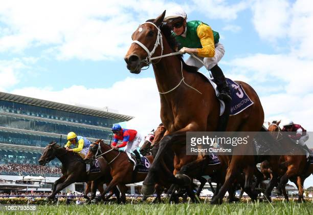 James McDonald rides Shillelagh to win race six Empire Rose Stakes during Derby Day at Flemington Racecourse on November 03 2018 in Melbourne...