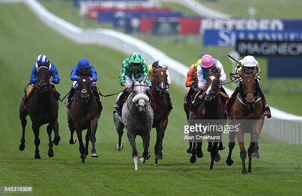 James McDonald riding Big Orange win The Princess Of Wales's Arqana Racing Club Stakes at Newmarket Racecourse on July 7 2016 in Newmarket England
