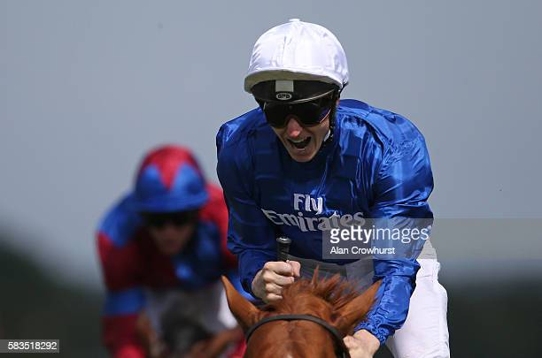 James McDonald riding Dutch Connection celebrate winning The Qatar Lennox Stakes at Goodwood on July 26 2016 in Chichester England
