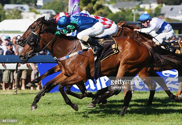 James McDonald riding Le Baron leads Andrew Calder riding Firebolt and Michael Coleman riding Down the Road in a close finish in the First Sovereign...
