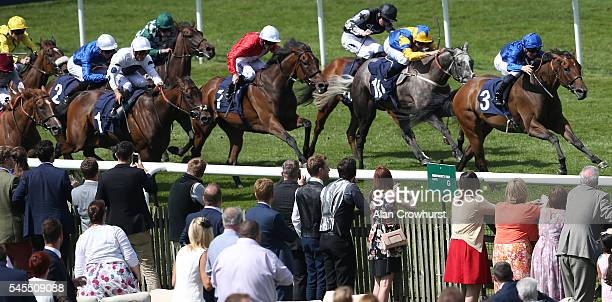 James McDonald riding Miss En Rose win The Price Bailey EBF Stallions Fillies' Handicap Stakes at Newmarket Racecourse on July 8 2016 in Newmarket...