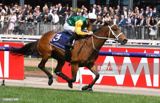 James McDonald riding Shillelagh winning the Empire Rose Stakes during Derby Day at Flemington Racecourse on November 3 2018 in Melbourne Australia