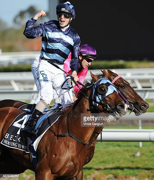 James McDonald riding Shooting to Win reacts after defeating Michael Rodd riding Rich Enuff in Race 9the Beck Caulfield Guineas during Caulfield...