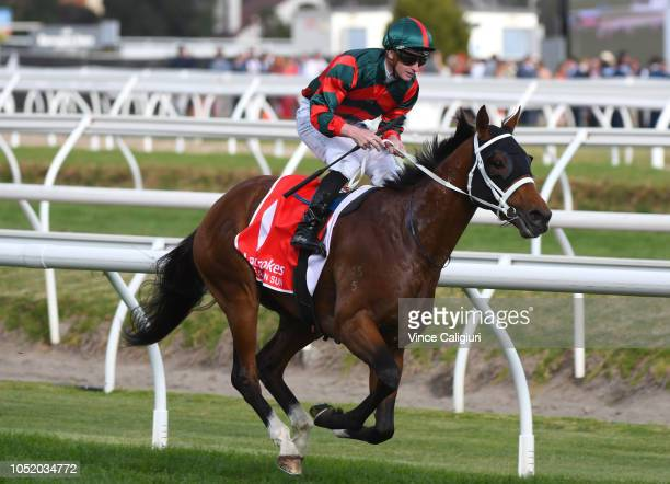 James McDonald riding The Autumn Sun after the line to win Race 9 Ladbrokes Caulfield Guineas during Melbourne Racing at Caulfield Racecourse on...