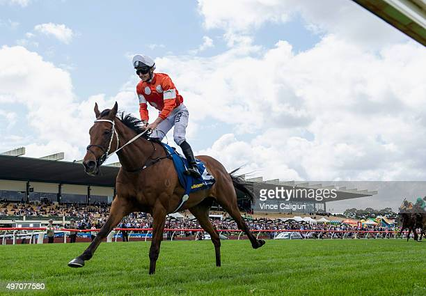 James McDonald riding Who Shot Thebarman wins Race 5 the Zipping Classic during Melbourne Racing at Sandown Racecourse on November 14 2015 in...