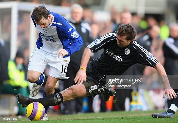 James McFadden of Birmingham City is tackled by Alan Stubbs of Derby County during the Barclays Premier League match between Birmingham City and...