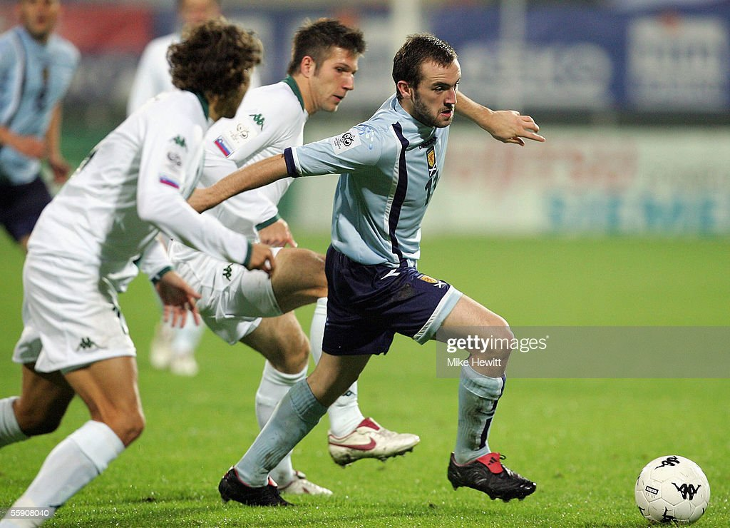 James McFadden of Scotland bursts through the Slovenian defence during the FIFA World Cup group 5 qualifying match between Slovenia and Scotland on October 12, 2005 at the Petrol Arena Stadium in Celje, Slovenia.