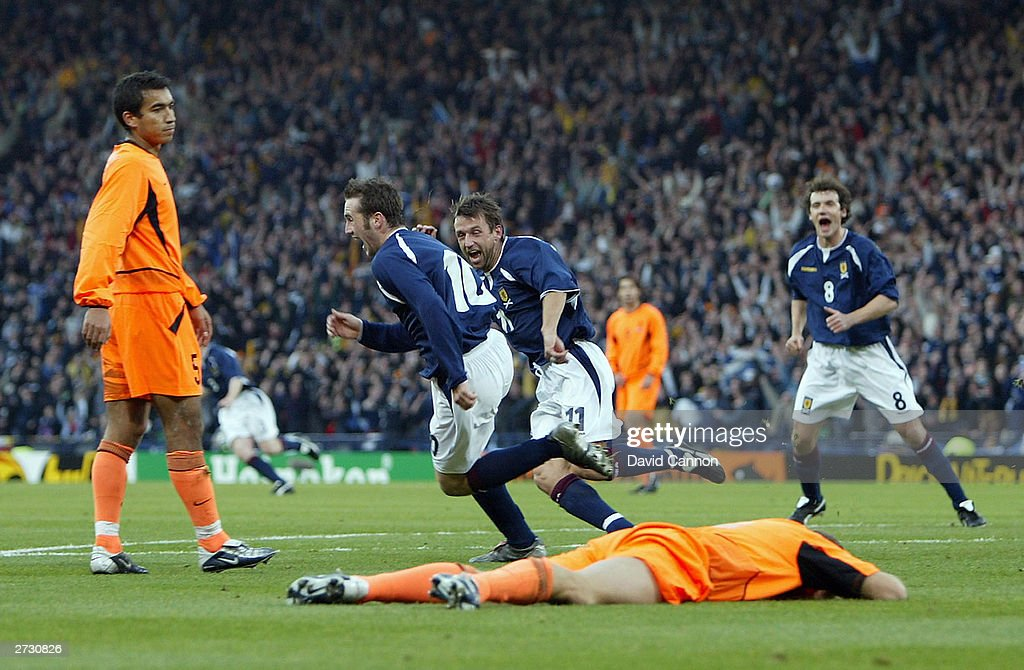 James McFadden of Scotland celebrates scoring their first goal during the Euro 2004 Play-off, first leg match between Scotland and Holland at Hampden Park on November 15, 2003 in Glasgow, Scotland.