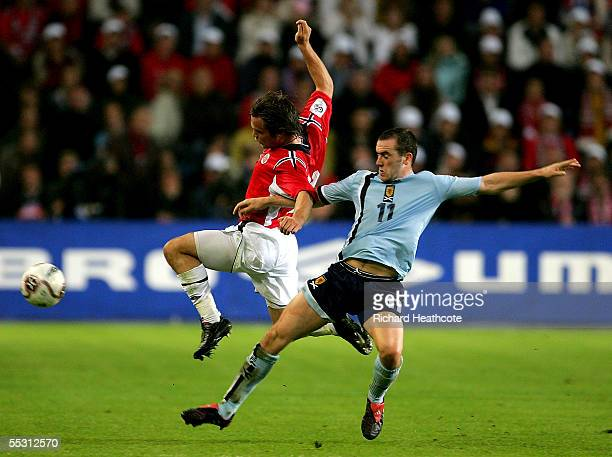 James McFadden of Scotland challenges Kristofer Haestad of Norway during the group 5 World Cup 2006 Qualifier between Norway and Scotland held at the...
