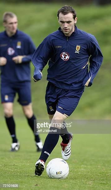 James McFadden of Scotland trains at Lesser Hampden ahead of the Group B Euro 2008 qualifier against France October 6 2006 Glasgow in Scotland
