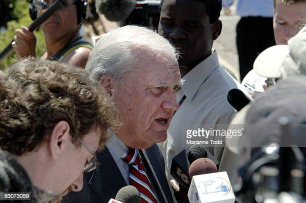 James McIntyre the defense attorney for Edgar Ray Killen talks with reporters outside the Neshoba County Courthouse on June 15 2005 in Philadelphia...