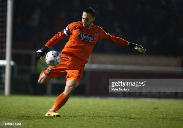 James McKeown of Grimsby Town in action during the Sky Bet League Two match between Northampton Town and Grimsby Town at PTS Academy Stadium on...