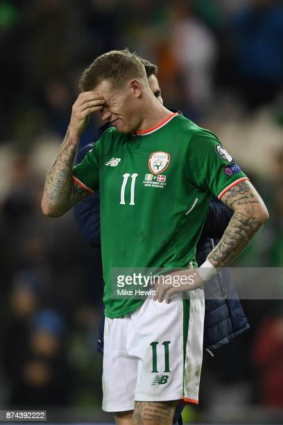 James McLean of Ireland can't hide his disappointment at the end of the FIFA 2018 World Cup Qualifier PlayOff Second Leg between Republic of Ireland...