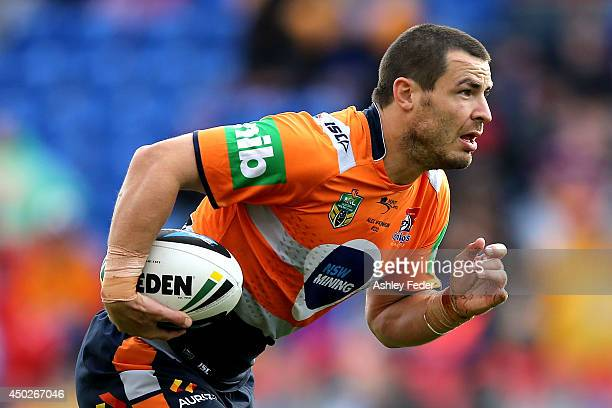 James McManus of the Knights in action during the round 13 NRL match between the Newcastle Knights and the Wests Tigers at Hunter Stadium on June 8...